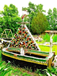 Mary's boat made from donated bottles